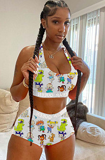 White Sexy Polyester Tie Dye Cartoon Graphic Sleeveless Tank Top Shorts Sets HG015