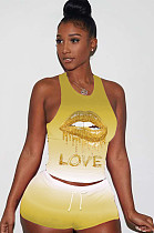 Yellow Sporty Polyester Mouth Graphic Round Neck Tank Top Shorts Sets LY5835