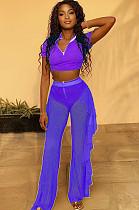 Purple Casual Short Sleeve V Neck Mesh Tee Top Wide Leg Pants Sets LY5831