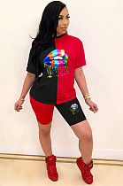 Red Black Casual Mouth Graphic Short Sleeve Round Neck Tee Top Shorts Sets  LML108