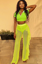 Fluorescent Green Casual Short Sleeve V Neck Mesh Tee Top Wide Leg Pants Sets LY5831
