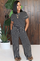 Black Casual Striped Short Sleeve Round Neck Tee Top Long Pants Sets MA6554
