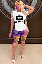 Black Casual Polyester Letter Half Sleeve Round Neck Ripped Tee Top Capris Pants Sets ARM8181
