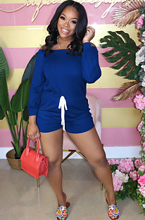 Blue Casual Long Sleeve Off Shoulder Drawstring Waist Tee Jumpsuit RB3061