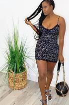 """Vestido de deslizamento """"sexy"""" preto N9210 do laço frio da guipura do ombro do leopardo do poliéster"""