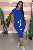 الأزرق عارضة قصيرة الأكمام جولة الرقبة سبليت هيم الرباط اللباس التحول التحول AL092