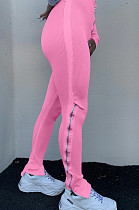Roze Sportief Polyester Zuivere kleur Zweetbroek met hoge taille LA3190