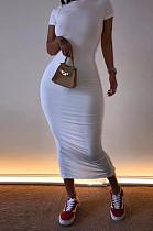 فستان كاجوال أبيض قصير الأكمام مستدير عنق طويل AL093