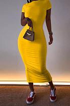 فستان عارضة أصفر قصير الأكمام جولة عنق طويل AL093
