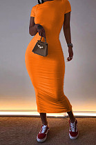 البرتقالي فستان عارضة قصيرة الأكمام جولة عنق طويل AL093