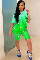 Gradient Green Casual Polyester Geometric Graphic Short Sleeve Round Neck Tee Top Shorts Sets YYF8089