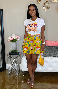 Yellow Polyester Cartoon Graphic Frill Trim Above Knee / Short Skirt LML096