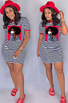 Red Casual Striped Figure Graphic Short Sleeve Round Neck Shift Dress SN3769