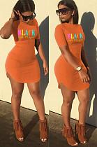 Orange Casual Letter Short Sleeve Round Neck Curved Hem Mini Dress SN3770