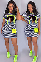 Green Casual Striped Figure Graphic Short Sleeve Round Neck Shift Dress SN3769