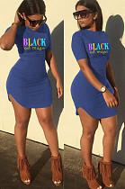 Blue Casual Letter Short Sleeve Round Neck Curved Hem Mini Dress SN3770
