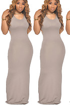 Gary Sexy Sleeveless Deep V Neck Shift Dress Long Dress TZ1095