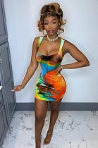 Orange Peuche Tie Dye Above Knee / Short Skirt L0303