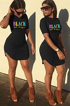 Black Casual Letter Short Sleeve Round Neck Curved Hem Mini Dress SN3770