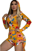 Light yellow   Casual Long Sleeve V Neck Knotted Strap Crop Top Shorts Sets YM8108