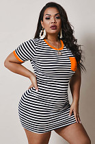 Orange Casual Polyester Striped Short Sleeve Round Neck Mini Dress NY5020