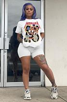 Weiße lässige Kurzarm-T-Shirt-Shorts mit rundem Hals und Rundhalsausschnitt BLX7508