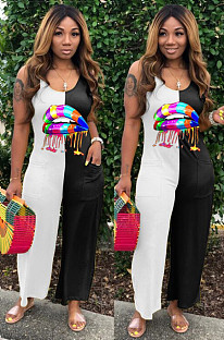 Black White Casual Polyester Mouth Graphic Sleeveless Strappy Tank Jumpsuit TZ1091