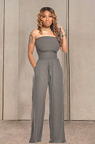 Cinza casual algodão sem mangas cordão cintura tubo macacão TRS1035
