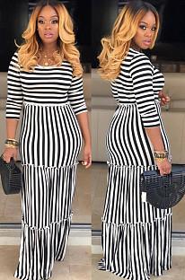 White Casual Polyester Striped Half Sleeve Round Neck Ruffle Long Dress KZ025