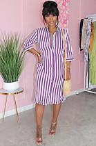 فستان مقلم أرجواني كاجوال مخطط قصير بأزرار تحول TRS1032