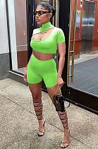 Verde maçã casual algodão manga curta gola oco out crop top shorts define f8282