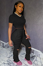 Black Casual Short Sleeve Round Neck Ripped Ruffle Crop Top Long Pants Sets LL6285