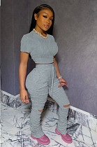 Gray Casual Short Sleeve Round Neck Ripped Ruffle Crop Top Long Pants Sets LL6285