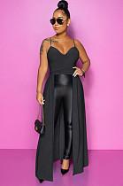 Black Elegant Polyester Sleeveless Cold Shoulder Pleated Peplum Top YYZ502