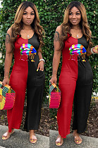 Black Red Casual Polyester Mouth Graphic Sleeveless Strappy Tank Jumpsuit TZ1091