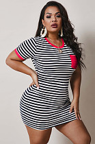 Red Casual Polyester Striped Short Sleeve Round Neck Mini Dress NY5020