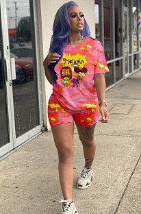 Rose Red Casual Polyester Tie Dye Cartoon Graphic Short Sleeve Round Neck Tee Top Shorts Sets HM5307