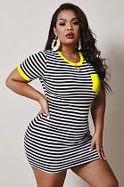 Yellow Casual Polyester Striped Short Sleeve Round Neck Mini Dress NY5020
