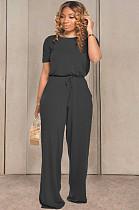 Zwarte casual katoenen korte mouw ronde hals trekkoord taille Tee Jumpsuit TRS1033