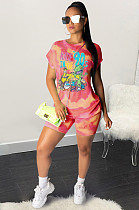 Red Casual Cartoon Graphic Short Sleeve Round Neck Tee Top Shorts Sets SY8531