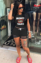 Black Casual Letter Mouth Graphic Short Sleeve Round Neck Ripped Tee Top Shorts Sets ML7330