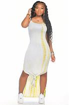 أصفر مثير أكمام جولة الرقبة سبليت هيم فستان زلة AMM8235
