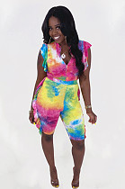 Multi Casual Polyester Tie Dye Sleeveless Flounce Capris Pants Sets N9212