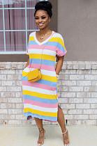 Pink Casual Polyester Rainbow Stripe Short Sleeve V Neck Split Hem Shift Dress KZ111