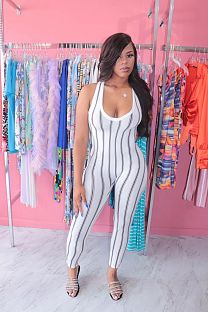 White Casual Polyester Striped Sleeveless Round Neck Tank Jumpsuit KZ128