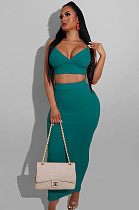 Green Sexy Striped Sleeveless V Neck Tank Top Bodycon Skirt AL102