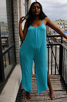 Blue Casual Sleeveless Round Neck Cami Jumpsuit KF168