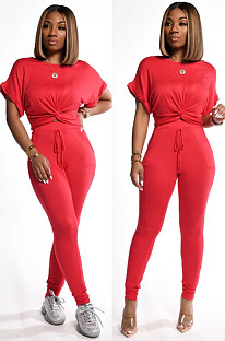 Red Casual Short Sleeve Round Neck Drawstring Waist Tee Top Long Pants Sets KZ004