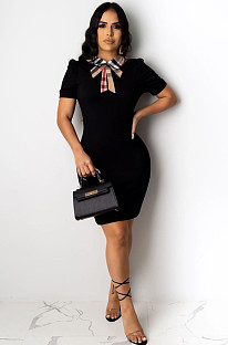 Black Casual Polyester Short Sleeve Shift Dress KZ007