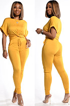 Yellow Casual Short Sleeve Round Neck Drawstring Waist Tee Top Long Pants Sets KZ004